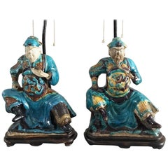 Pair of Chinese Shiwan Ware Pottery Warrior Lamps