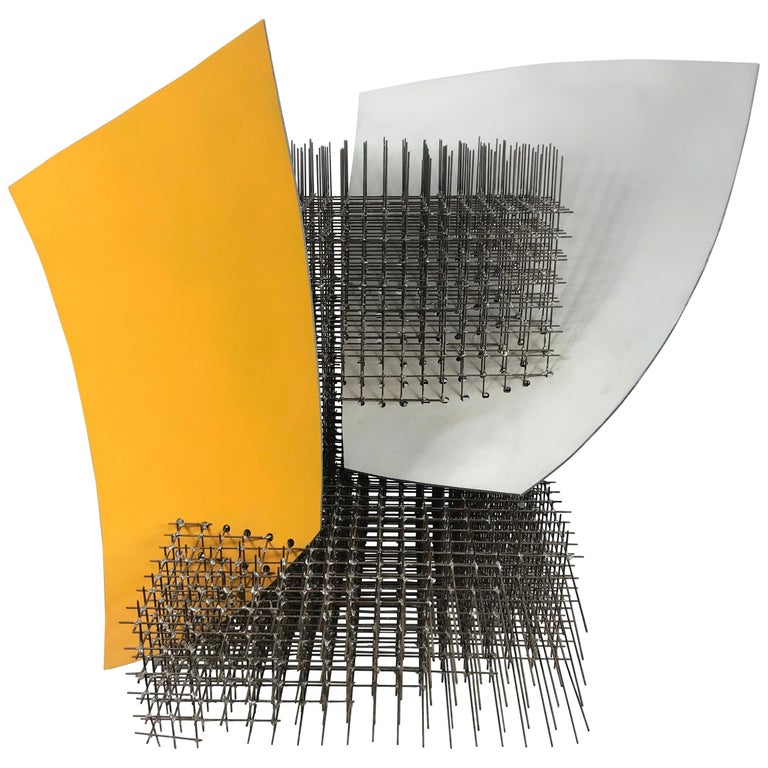 """Modernist Abstract Welded Steel Sculpture """"Yellow White"""" by Robert Brock"""
