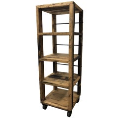 Vintage Rustic Tower Shelf and Wheels