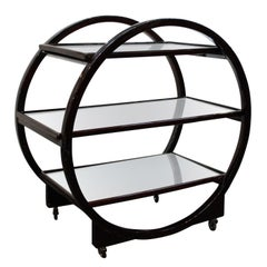 English Art Deco Bar Cart in Circular Shape with Three Mirrored Levels