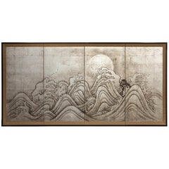 Japanese Four-Panel Screen, Moon and Ocean Landscape