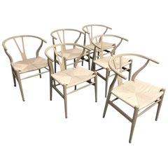 Set of Six Midcentury Hans Wegner Wishbone Chairs