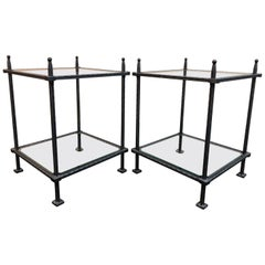 Pair of Claudio Rayes Wrought Iron and Glass Side Tables
