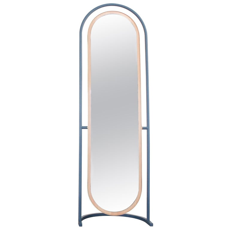 "Contemporary Floor Mirror, Curved Frame Full-Length ""Pill Mirror"""