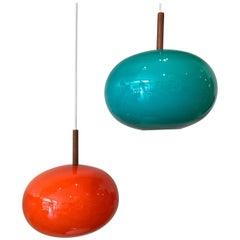 Pair of Danish Teak and Glass Pedant Lamps