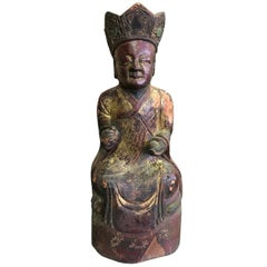 Wood, Gilt and Polychrome Carved Chinese Temple Ancestral Figure