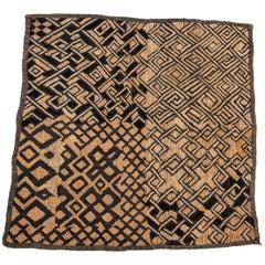 Vintage Kuba Raffia Textile Panel, Central Africa, Mid-20th Century