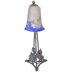 Art Deco French Lamp with Hand-Forged Base and Degué Shade