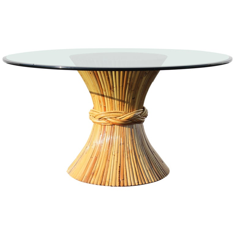 Vintage McGuire Rattan Sheaf of Wheat Form Dining Table For Sale