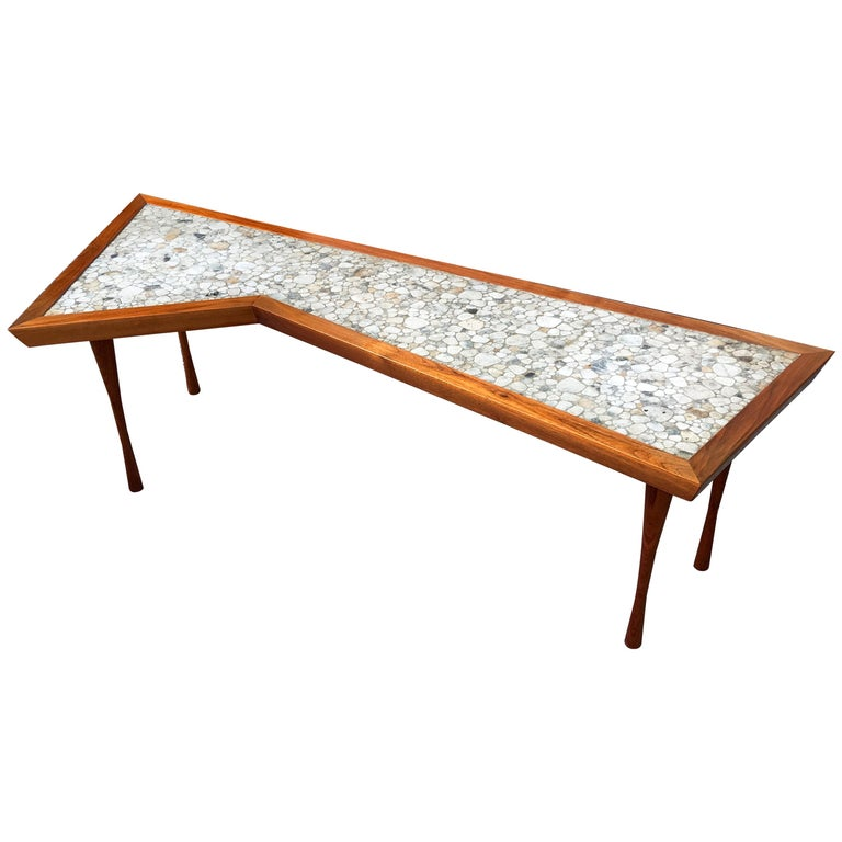 John Rothschild 1965 Signed Walnut Geometric Cocktail Table with Stoneware Tiles For Sale