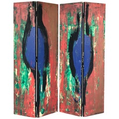 Lecewicz Abstract Expressionist Folding Screen Room Divider