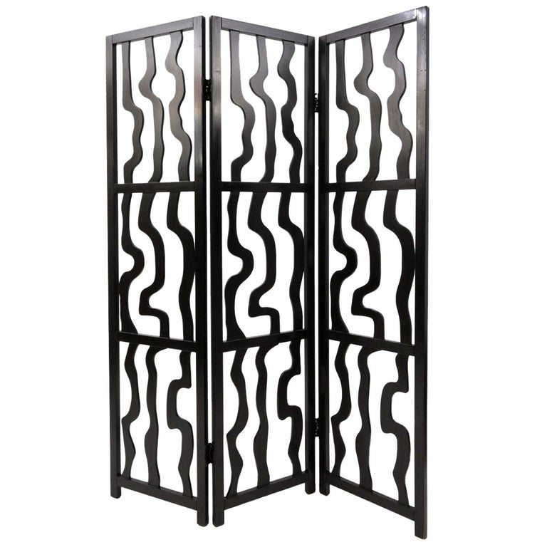 Contemporary Sculptural Three Panel Folding Screen For Sale