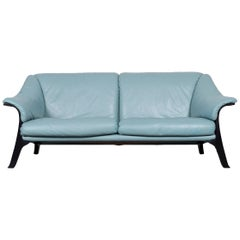 Poltrona Frau Designer Leather Sofa Blue Two-Seat Couch