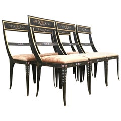 Early Regency or Gustavian Bellman Chair After Sheraton, Set of Six Iron Chairs
