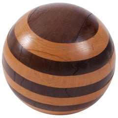 Handcrafted Wooden Sphere in Solid Oak and Wenge, 1970s