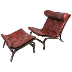 "Swedish ""Skandi"" Lounge Chair with Ottoman in Buffalo Leather by Arne Norell"