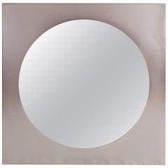 Post-modern Mirror in Brushed Steel, 1980s Belgo Chrom