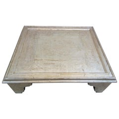 20th Century Italian Handmade Coffee Table Inlaid by Hand Silvered Wood
