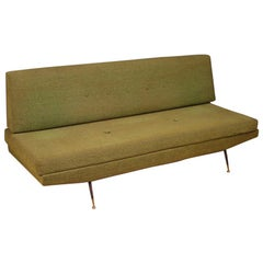 20th Century Green Fabric Italian Design Zanuso Style Sofa, 1950