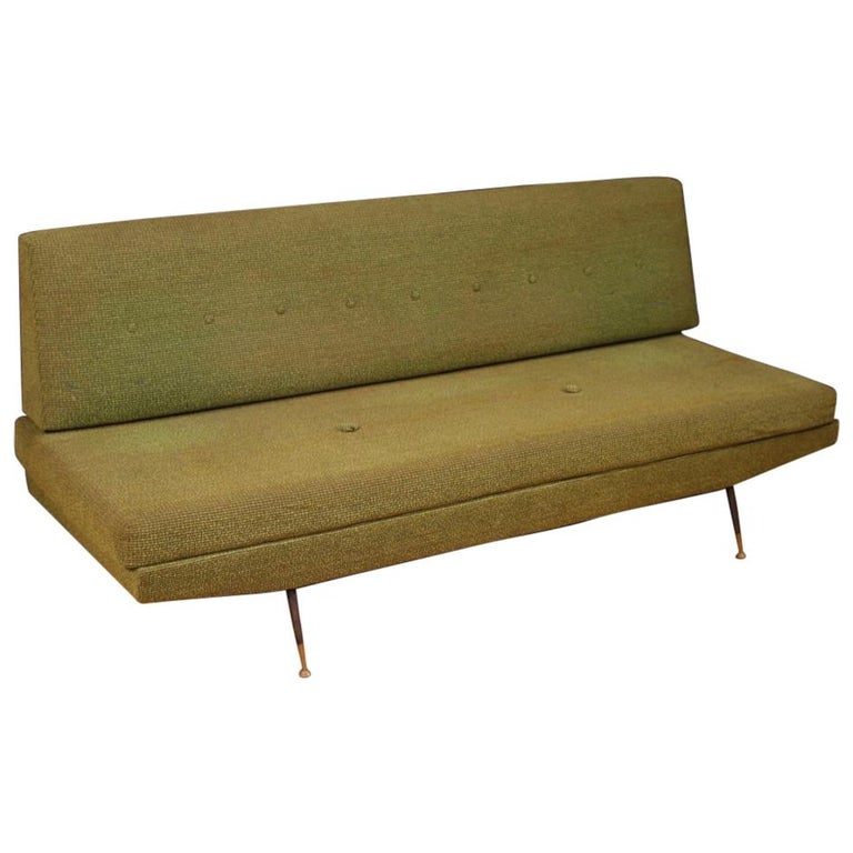 20th Century Green Fabric Italian Design Zo Style Sofa 1950 For