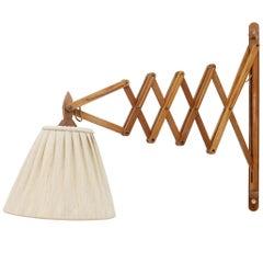 Large Midcentury Danish Wooden Scissor Lamp