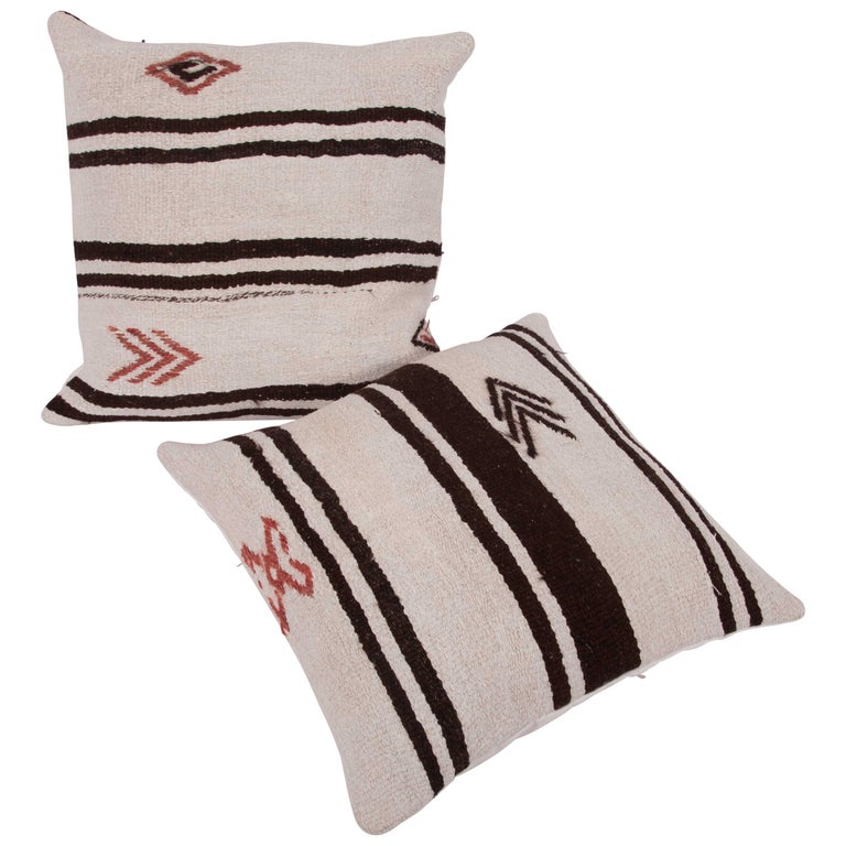 Cushion Covers or Pillows Fashioned from a Mid-20th Century Anatolian Hemp Kilim For Sale