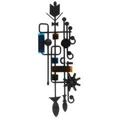 1960s Iron Wall Decoration Sculpture with Glass Elements, Dantoft Kunstartikler