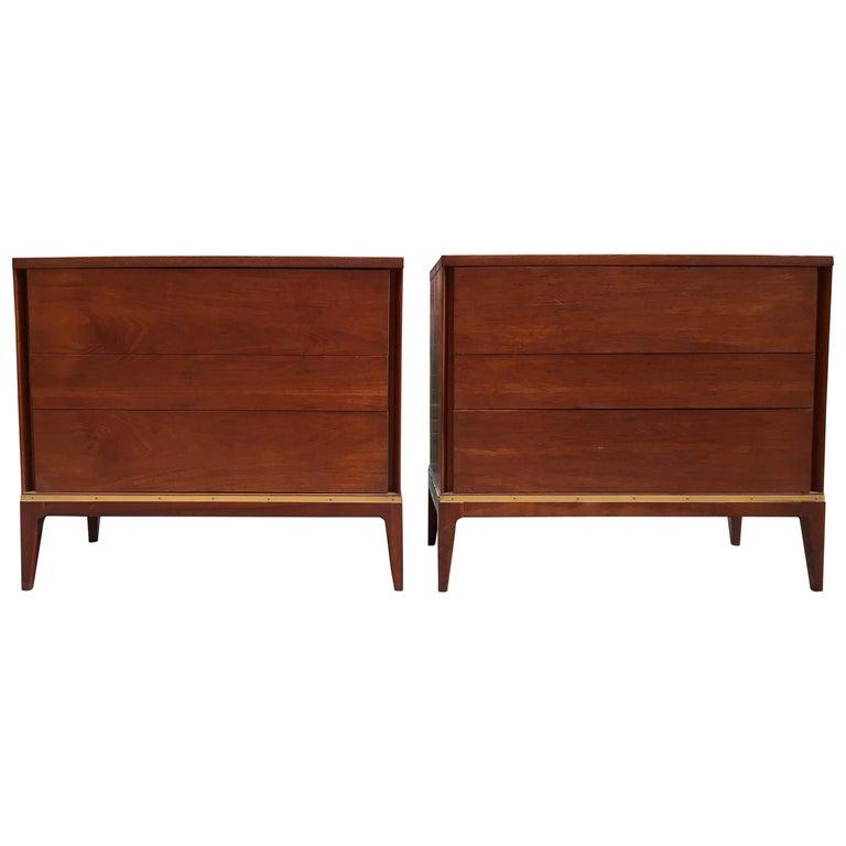 Pair of Teak and Brass John Stuart Dressers For Sale