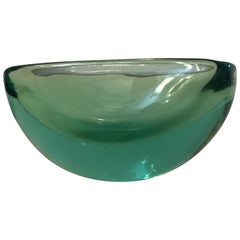 Archimede Seguso Oval Bowl, Green Submerged Glass Centrepiece, 1950