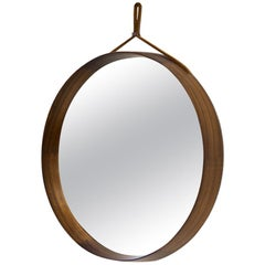 Rosewood Round Wall Mirror by Luxus, Sweden