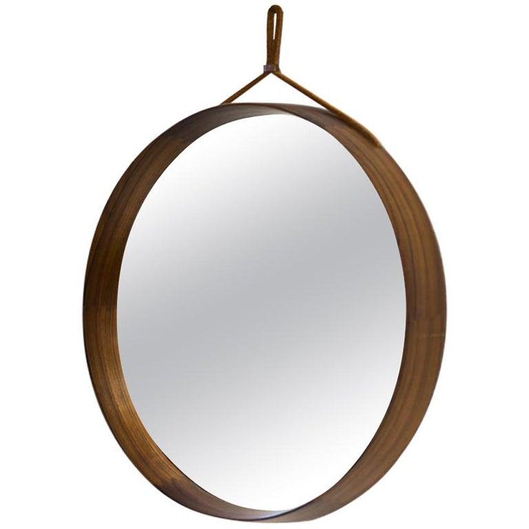Rosewood Round Wall Mirror by Luxus, Sweden