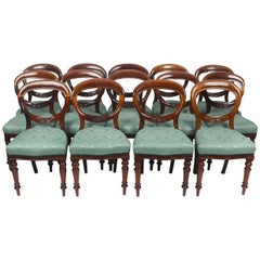 Antique Set 14 Victorian Mahogany Balloon Back Dining Chairs, 19th Century