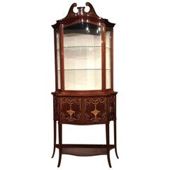 Marquetry Inlaid Edwardian Period Serpentine Cabinet by Maple