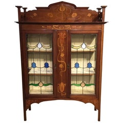 Mahogany and Marquetry Inlaid Arts & Crafts Period Display Cabinet