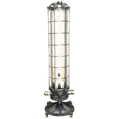 Late Century French Aluminium and Glass Explosion Proof Floor Standing Tube Lamp