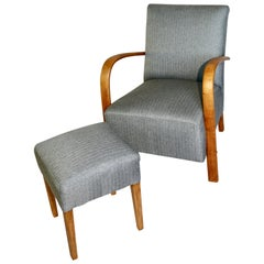 Set of Art Deco Armchair with Footrest Seat in Gray from 20th Century