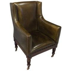 Rosewood and Olive Green Leather Library Chair
