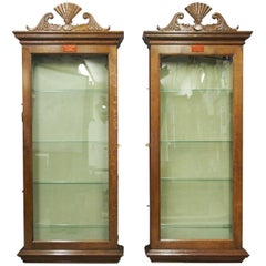 Pair of Oak Bespoke Made Fan Display Cabinets