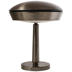 Large Italian Patinated Brass Table Lamp, circa 1960