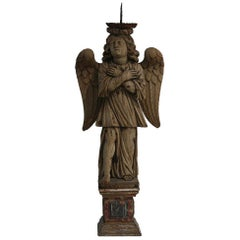 18th Century French Weathered Oak Angle with Candleholder