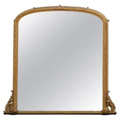 Exceptional 19th Century Gilded Overmantel Mirror