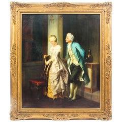 "Antique Painting Jakob Emanuel Gaisser ""the Courtship"" 19th Century"