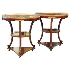 Elegant Pair of French Directoire Style Mahogany and Rosewood Gueridon Tables