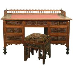 Moroccan Style Desk with a Stool and Basket