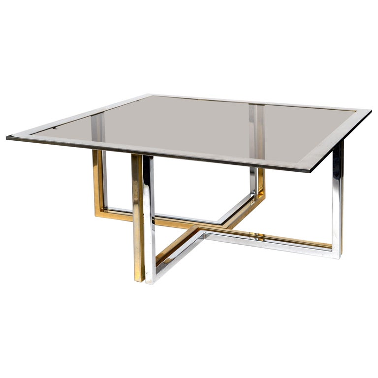 Italian Chrome and Brass Coffee Table, 1970s