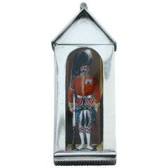 Victorian Silver & Enamel Sentry Box Vesta Case 'The Seaforth Highlanders', 1886