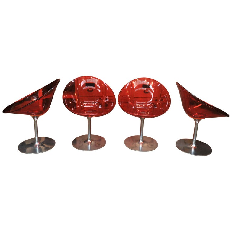 Set of 4 Seats in Orange Polycarbonate on Chrome Aluminium by Philippe Starck For Sale