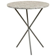 Small Round Table with a Cast Iron Tripod Base and a Figured Grey Marble Top
