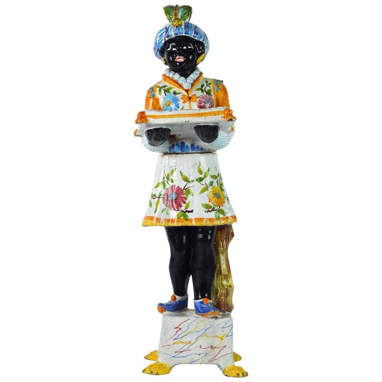 Italian Midcentury Glazed Terracotta Majolica Blackamoor Card Receiver Statue