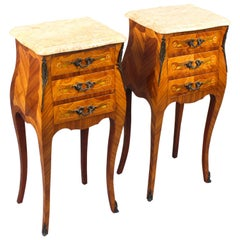 Antique Pair of French Kingwood Bombe Bedside Chests 19th Century